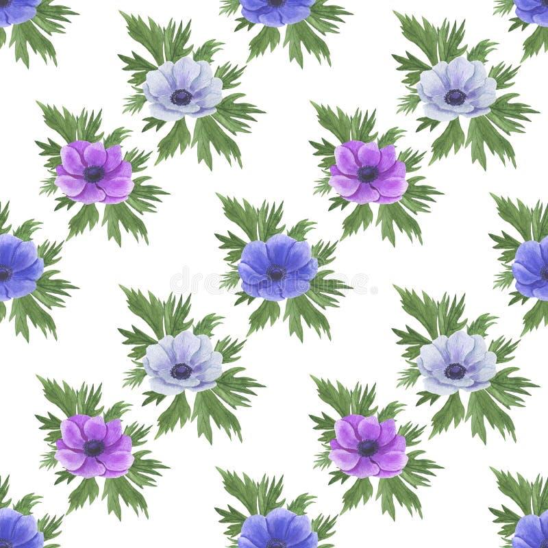 Teste padrão sem emenda com flores Anemone Illustration da aquarela da matéria têxtil de papel feito a mão de Digitas das textura ilustração stock