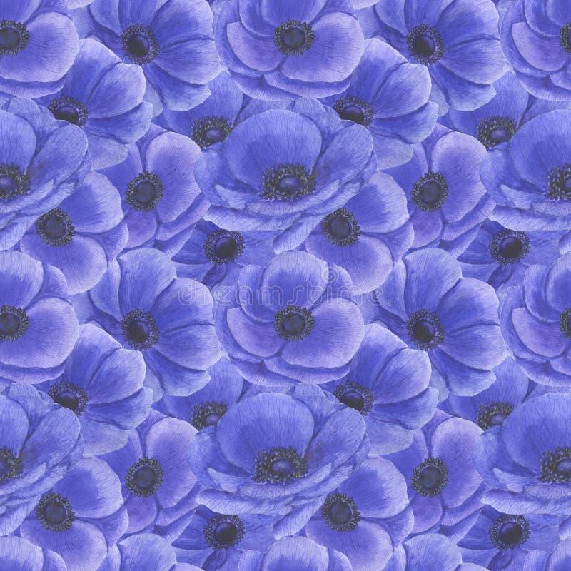 Teste padrão sem emenda com flores Anemone Illustration da aquarela da matéria têxtil de papel feito a mão de Digitas das textura ilustração do vetor
