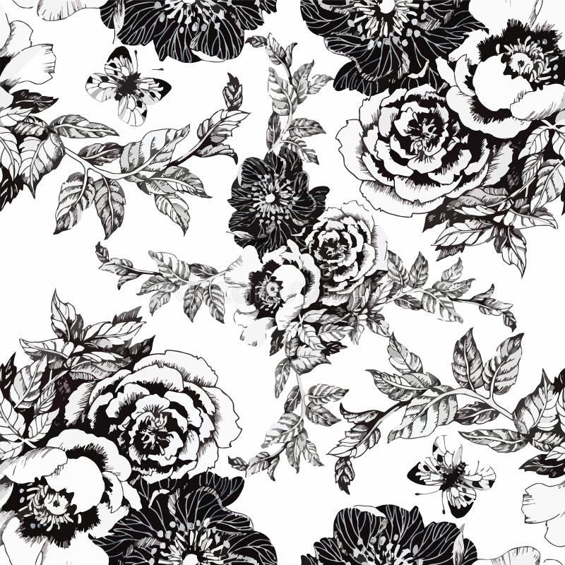 Teste padrão sem emenda com flores bonitas, pintura da aquarela ilustração royalty free
