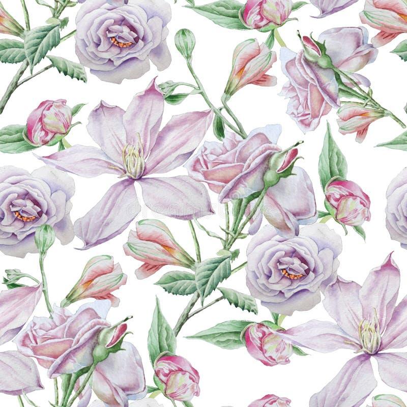 Teste padrão sem emenda com flores Clematis Rosa Alstroemeria Ilustração da aguarela ilustração stock