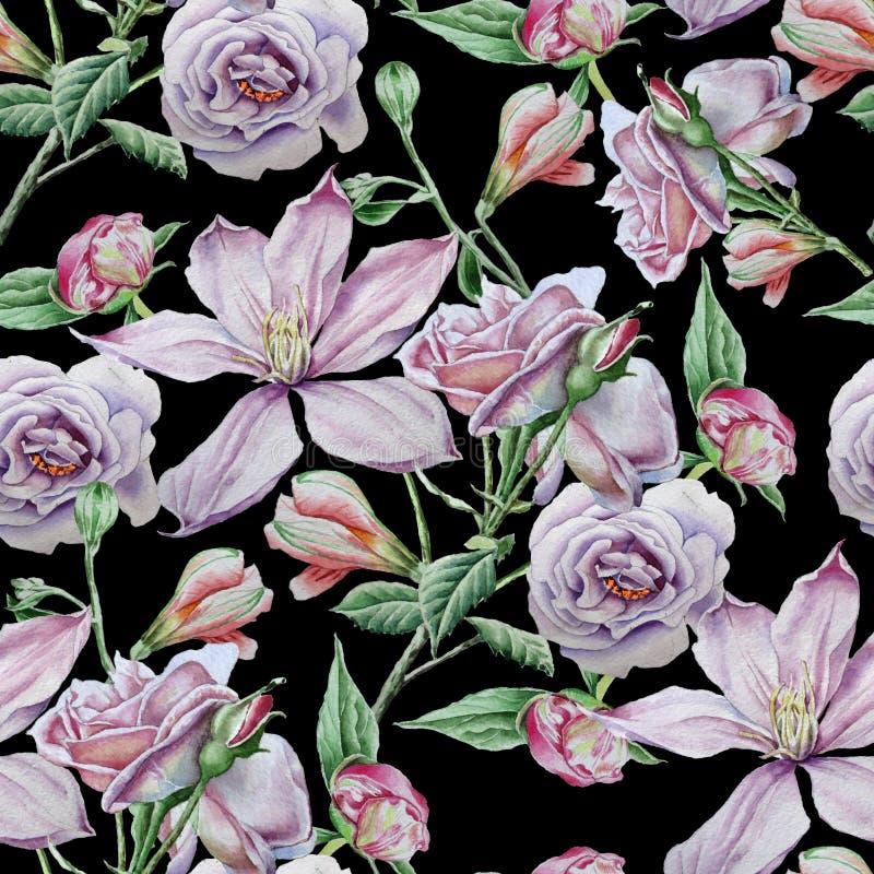 Teste padrão sem emenda com flores Clematis Rosa Alstroemeria Ilustração da aguarela ilustração do vetor