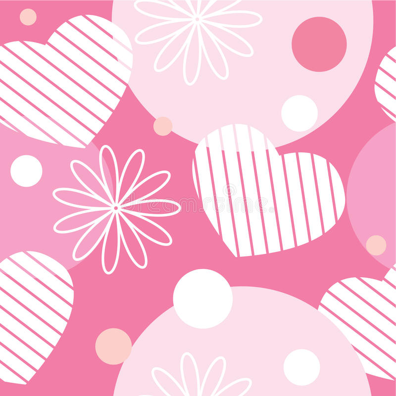 Teste padrão sem emenda com flores, corações e círculos ilustração royalty free
