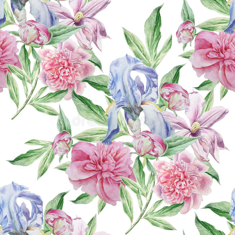 Teste padrão sem emenda com flores da mola íris Peônia Clematis watercolor ilustração do vetor