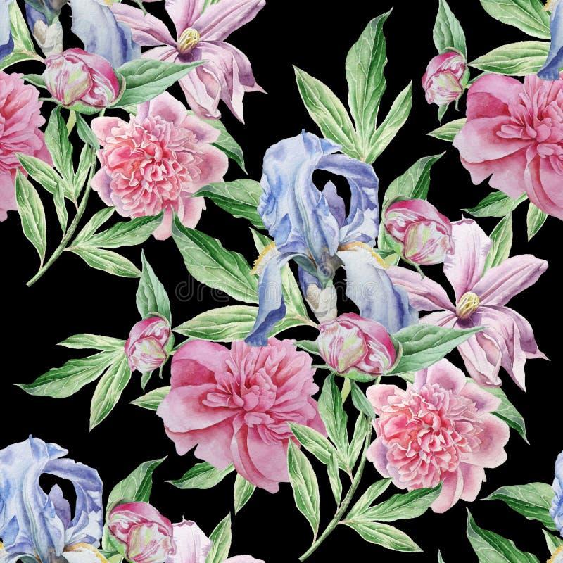 Teste padrão sem emenda com flores da mola íris Peônia Clematis watercolor ilustração royalty free