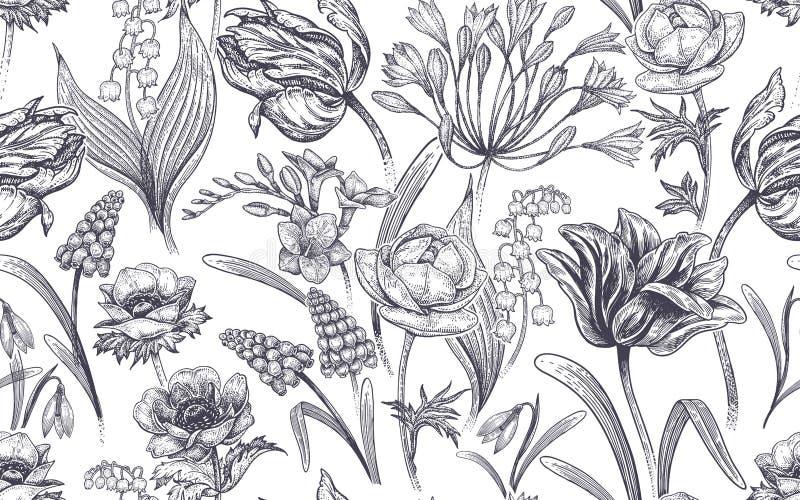 Teste padrão sem emenda com flores da mola ilustração stock