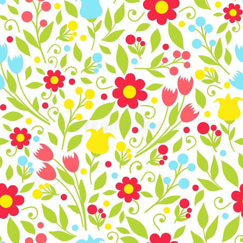 Teste padrão sem emenda com flores da mola ilustração royalty free