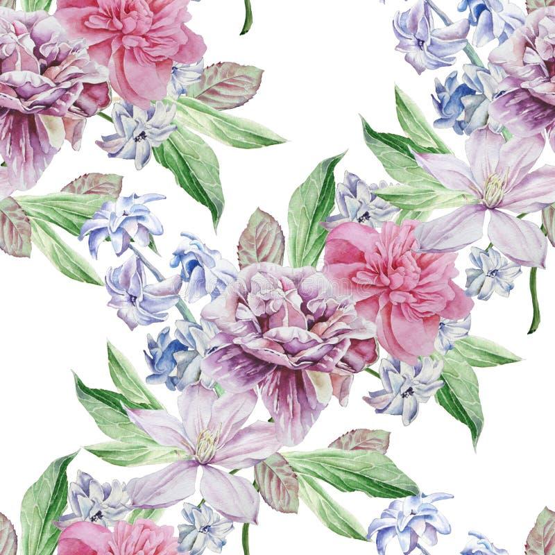 Teste padrão sem emenda com flores da mola Peônia Clematis Jacinto ilustração stock