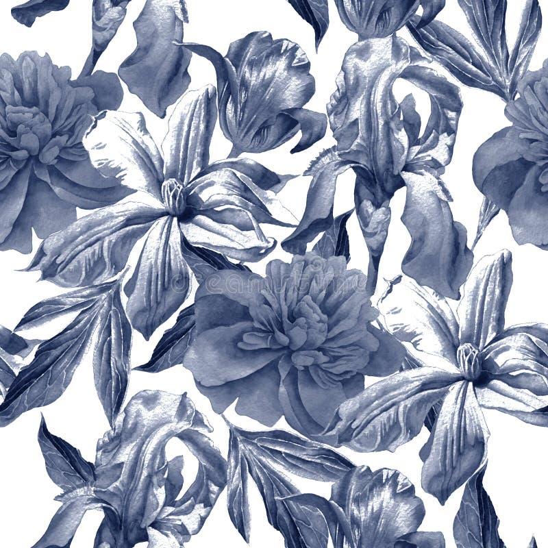 Teste padrão sem emenda com flores da mola Peônia Clematis Tulipa íris watercolor ilustração do vetor