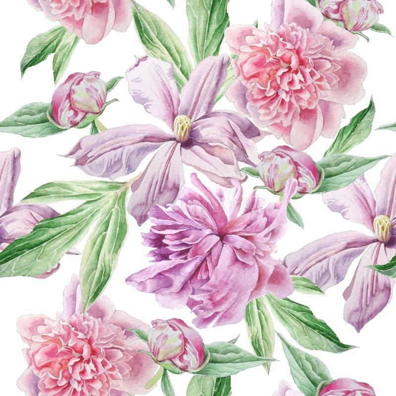 Teste padrão sem emenda com flores da mola Peônia Clematis watercolor ilustração stock