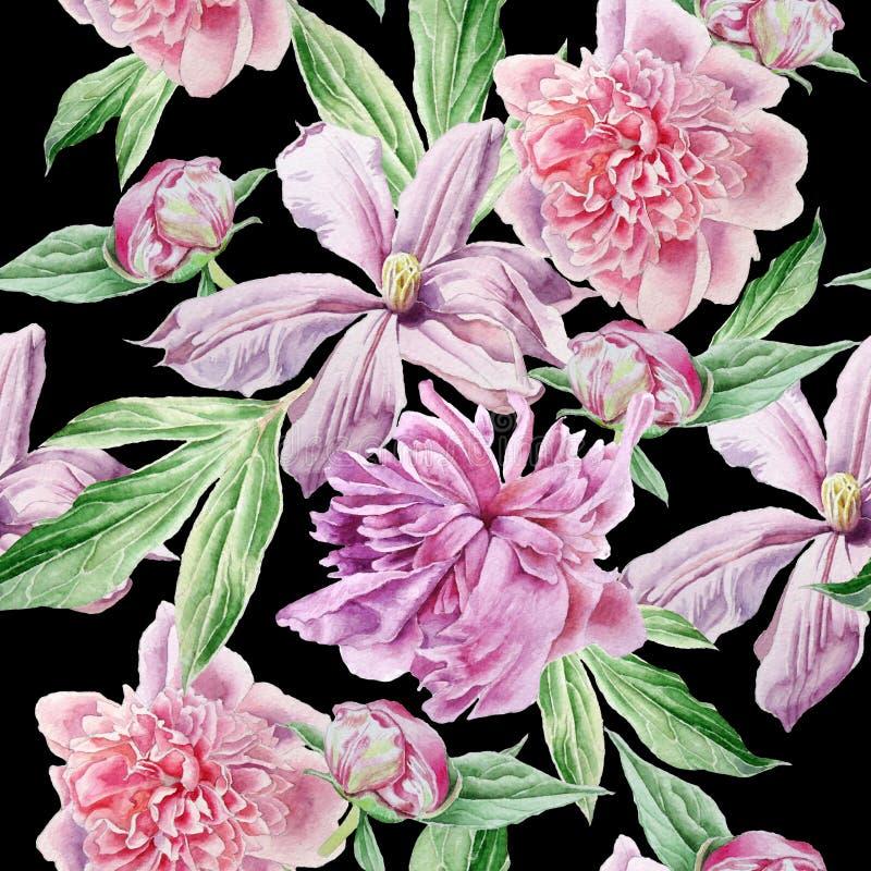 Teste padrão sem emenda com flores da mola Peônia Clematis watercolor ilustração do vetor