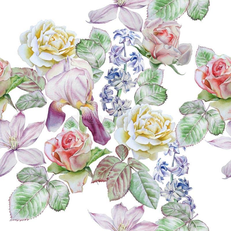 Teste padrão sem emenda com flores da mola Rosa Clematis Tulipa Jacinto íris watercolor ilustração royalty free