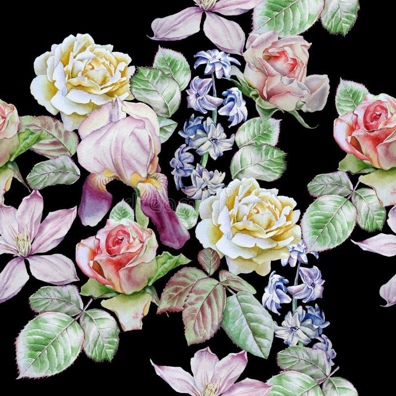 Teste padrão sem emenda com flores da mola Rosa Clematis Tulipa Jacinto íris watercolor ilustração do vetor