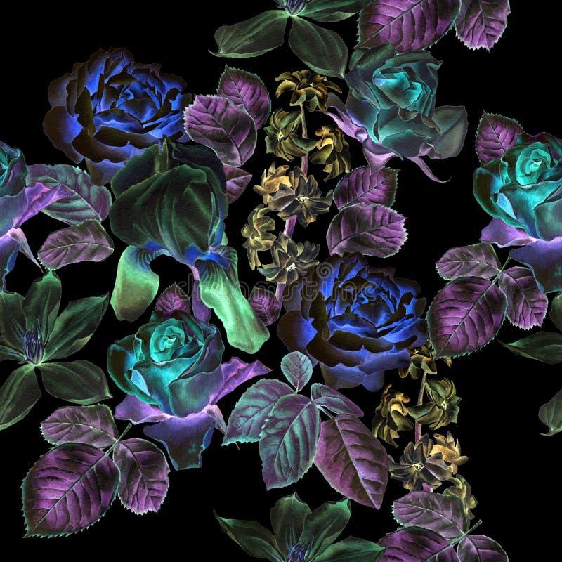 Teste padrão sem emenda com flores da mola Rosa Clematis Tulipa Jacinto íris watercolor ilustração stock