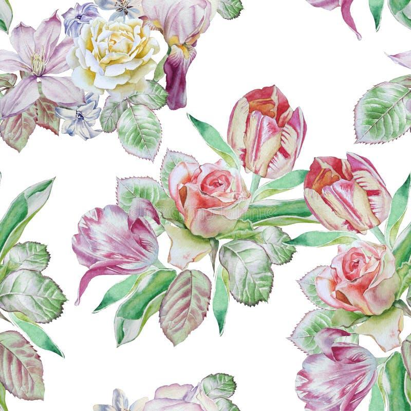 Teste padrão sem emenda com flores da mola Rosa Jacinto Clematis íris Tulipa watercolor ilustração stock