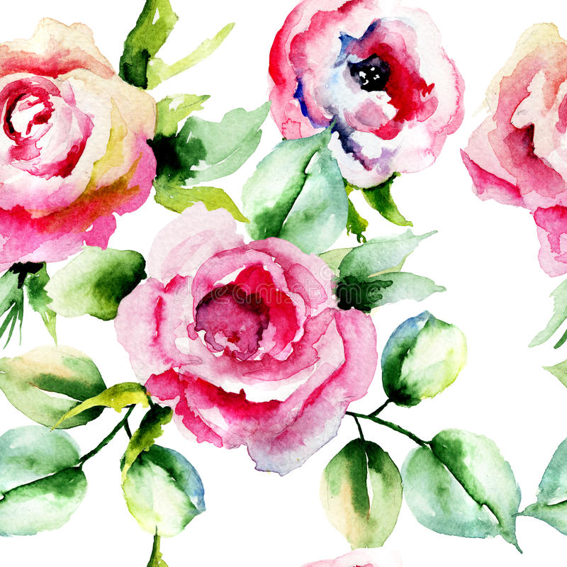 Teste padrão sem emenda com flores das rosas ilustração do vetor