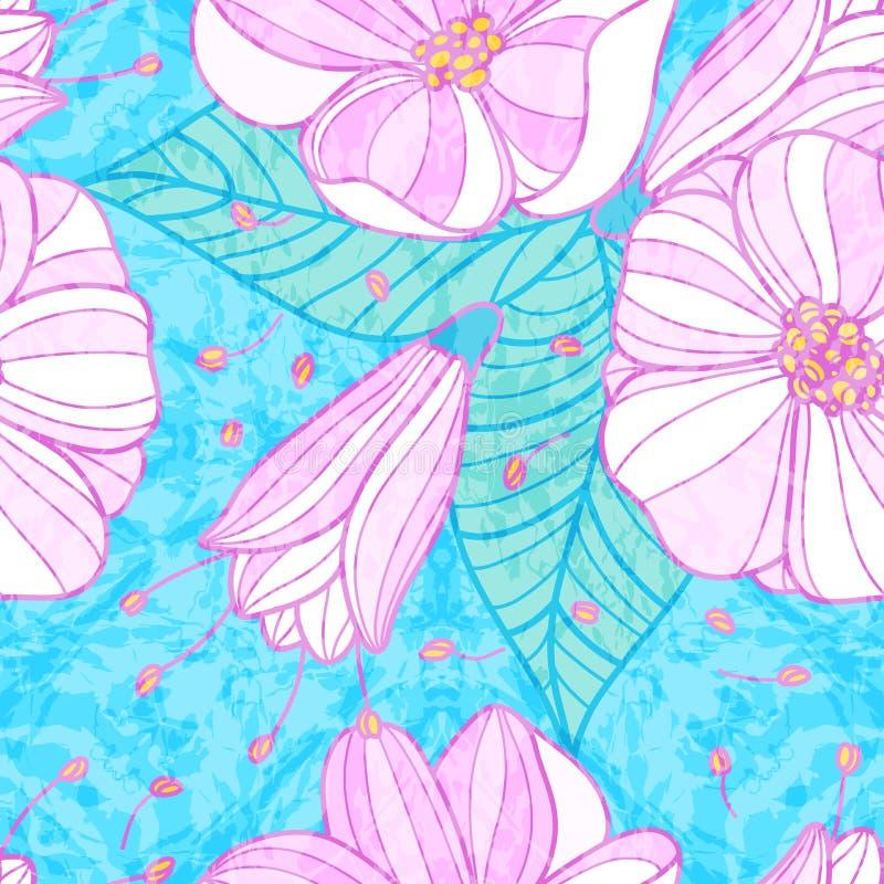 Teste padrão sem emenda com flores de cerejeira ilustração do vetor
