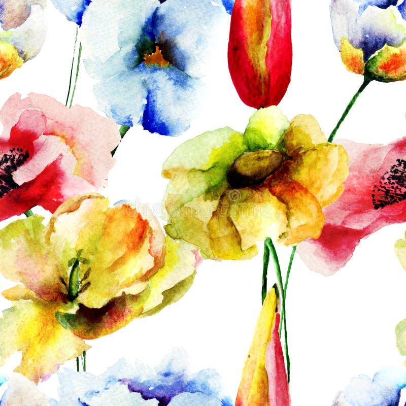 Teste padrão sem emenda com flores decorativas ilustração do vetor