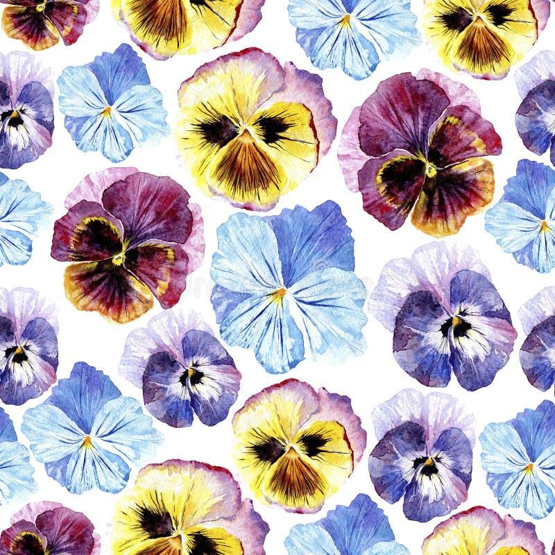 Teste padrão sem emenda com flores do amor perfeito ilustração do vetor