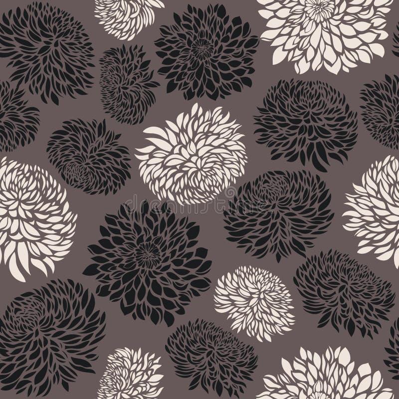 Teste padrão sem emenda com flores do crisântemo ilustração do vetor