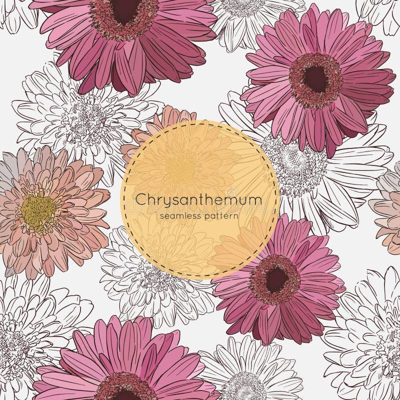 Teste padrão sem emenda com flores do crisântemo Ilustração do vetor ilustração royalty free