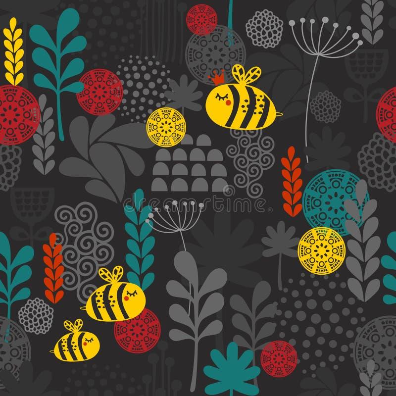 Teste padrão sem emenda com flores e abelhas. ilustração do vetor