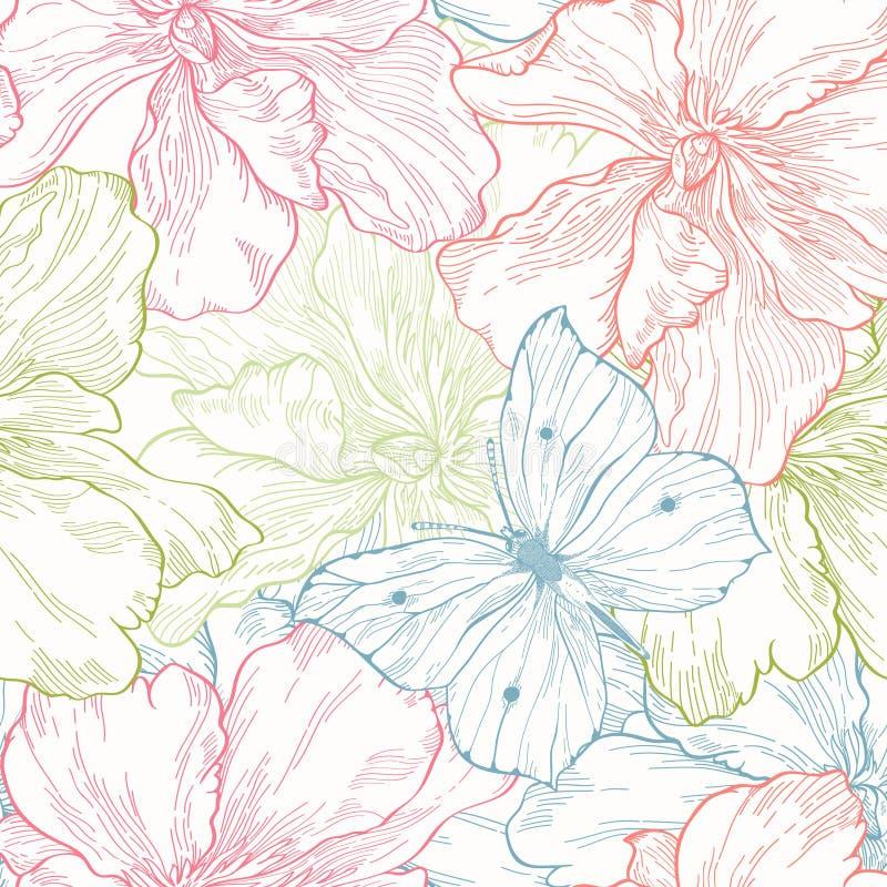 Teste padrão sem emenda com flores e borboletas ilustração stock
