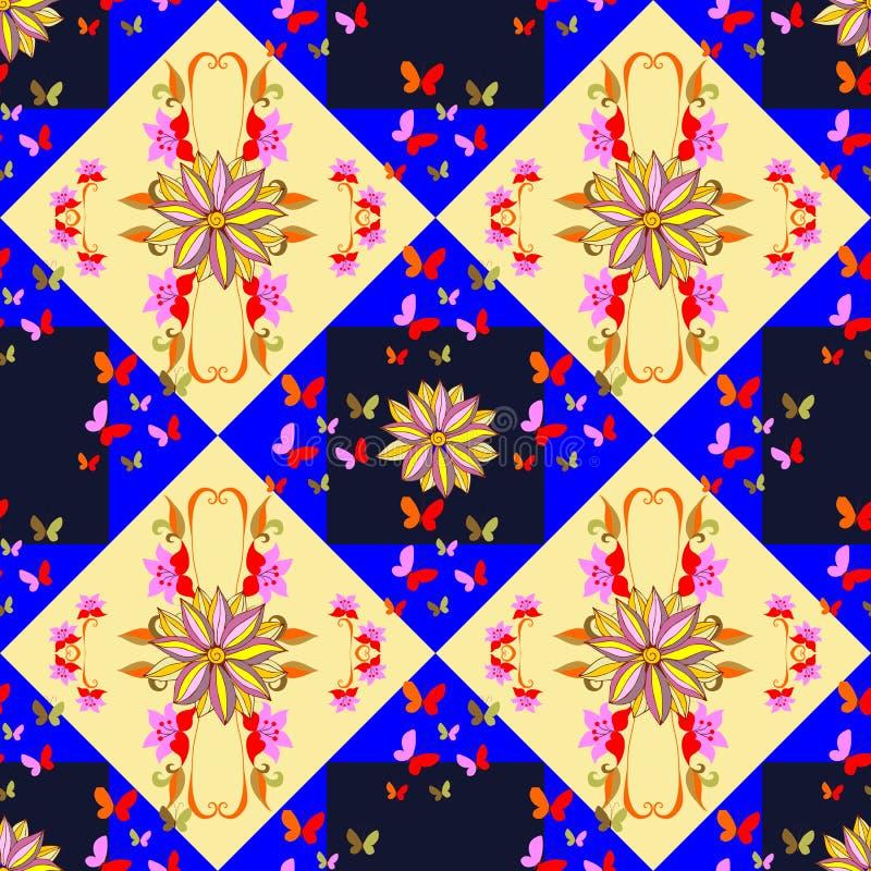 Teste padrão sem emenda com flores e borboletas no fundo geométrico ilustração stock