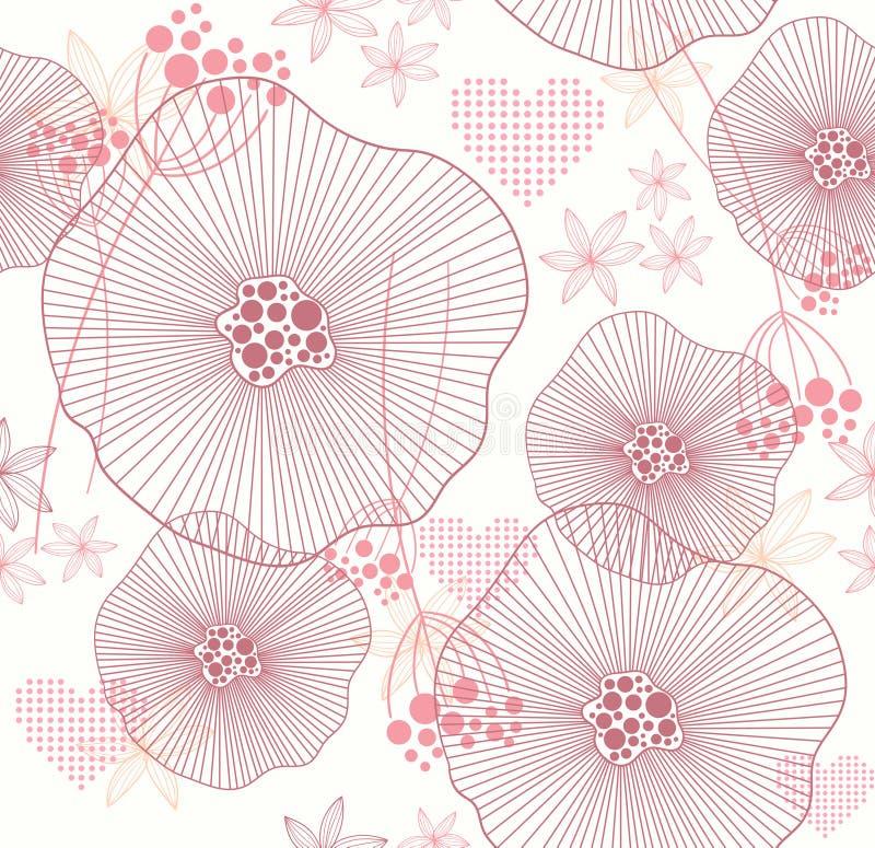 Teste padrão sem emenda com flores e corações ilustração stock