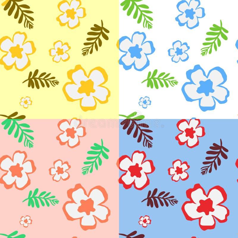 Teste padrão sem emenda com flores e folhas ilustração royalty free