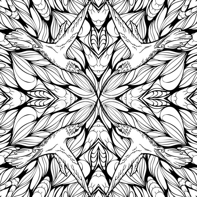 Teste padrão sem emenda com flores e os colibris abstratos Adulto c ilustração royalty free