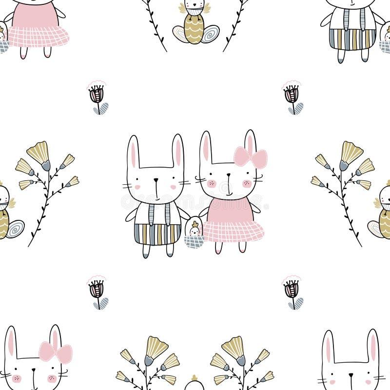 Teste padrão sem emenda com flores, família da Páscoa dos coelhos Ilustração escrita à mão do vetor ilustração do vetor