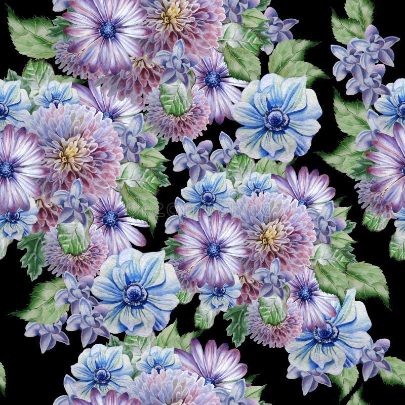 Teste padrão sem emenda com flores Peônia anemone Ilustração da aguarela ilustração stock