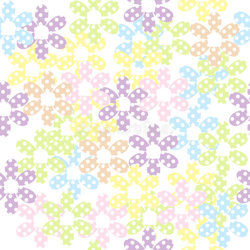 Teste padrão sem emenda com flores pontilhadas, fundo para crianças ilustração stock