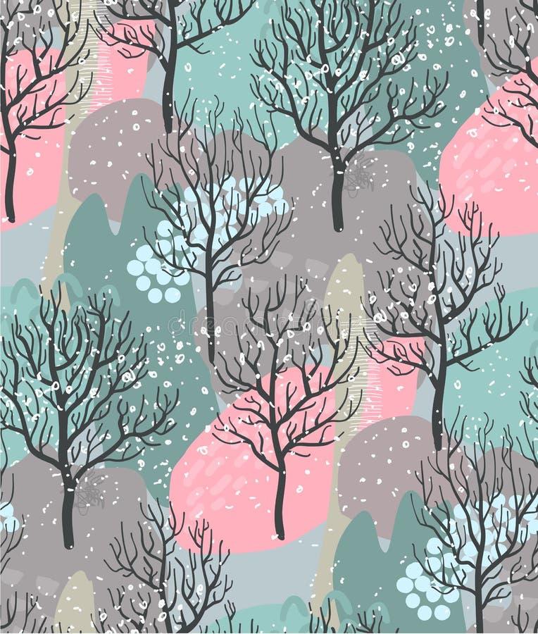 Teste padrão sem emenda com floresta do inverno, textura abstrata do vetor ilustração do vetor