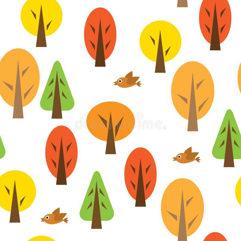Teste padrão sem emenda com floresta outonal ilustração do vetor