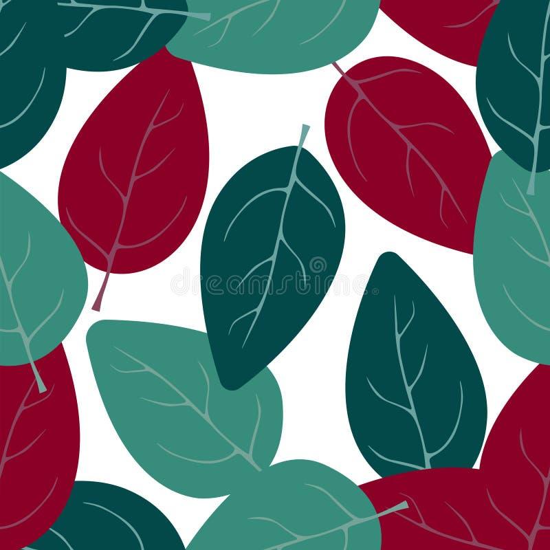 Teste padrão sem emenda com folhas abstratas ilustração do vetor