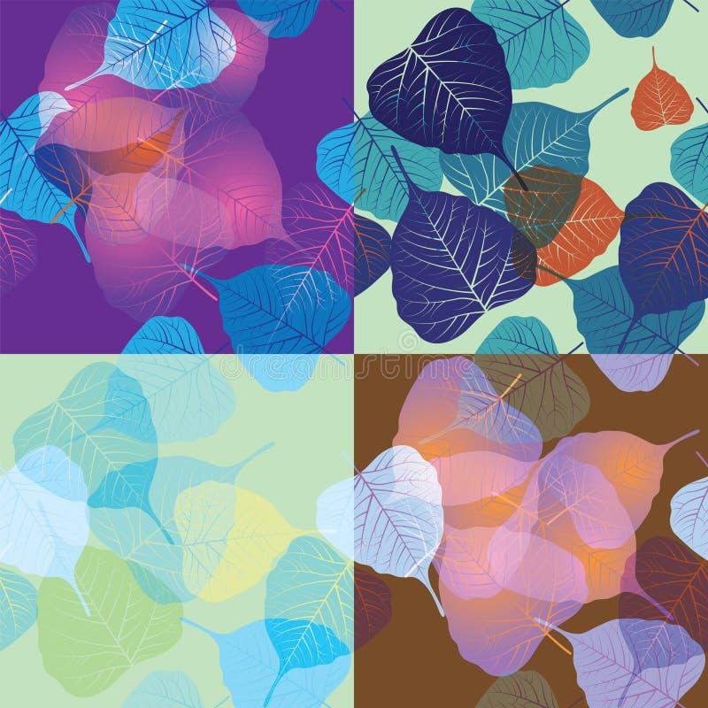 Teste padrão sem emenda com folhas coloridas ilustração do vetor