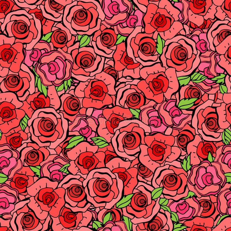 Teste padrão sem emenda com folhas e as rosas vermelhas no estilo do vintage Vect ilustração do vetor