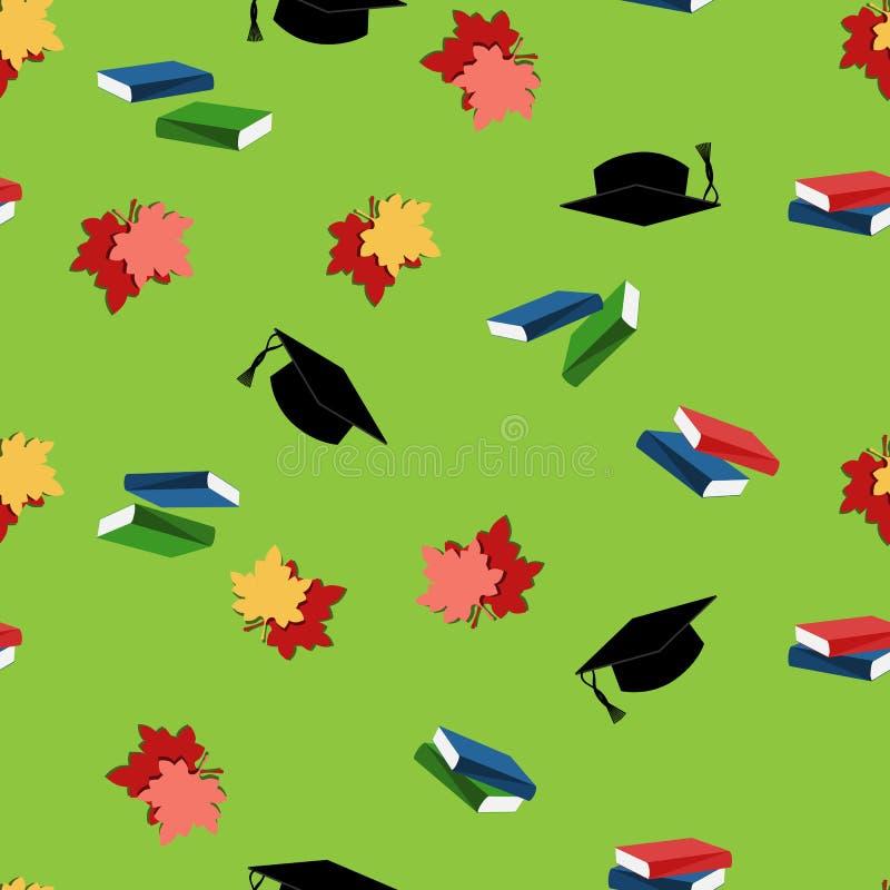 Teste padrão sem emenda com folhas, livros e chapéus ilustração royalty free