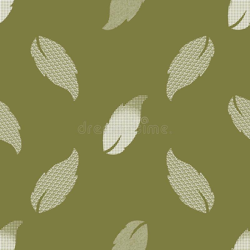 Teste padrão sem emenda com folhas modeladas Cópia complexa da ilustração no verde azeitona e no creme ilustração royalty free