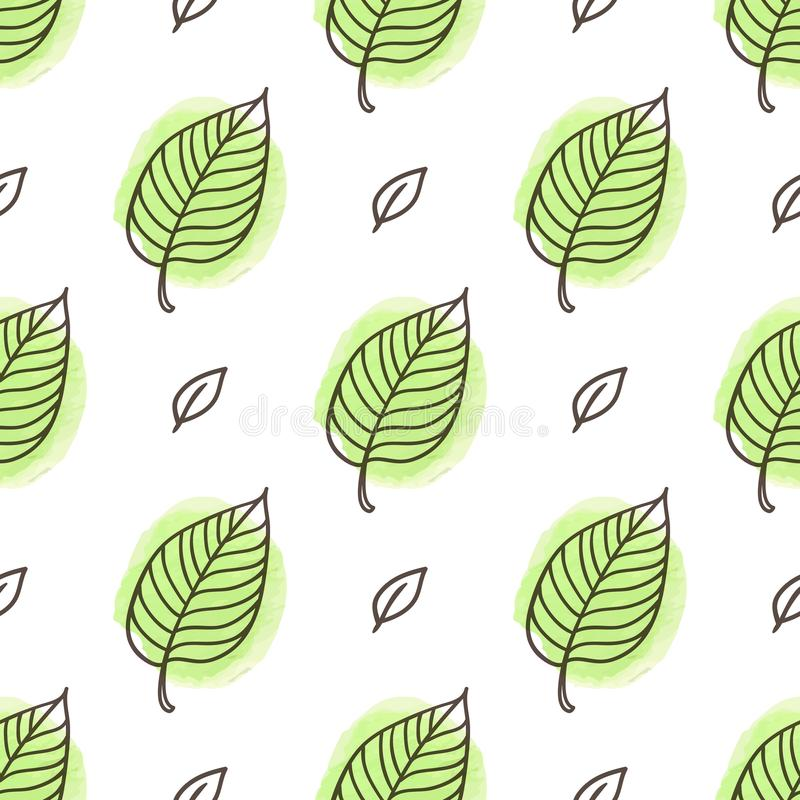 Teste padrão sem emenda com folhas verdes ilustração stock