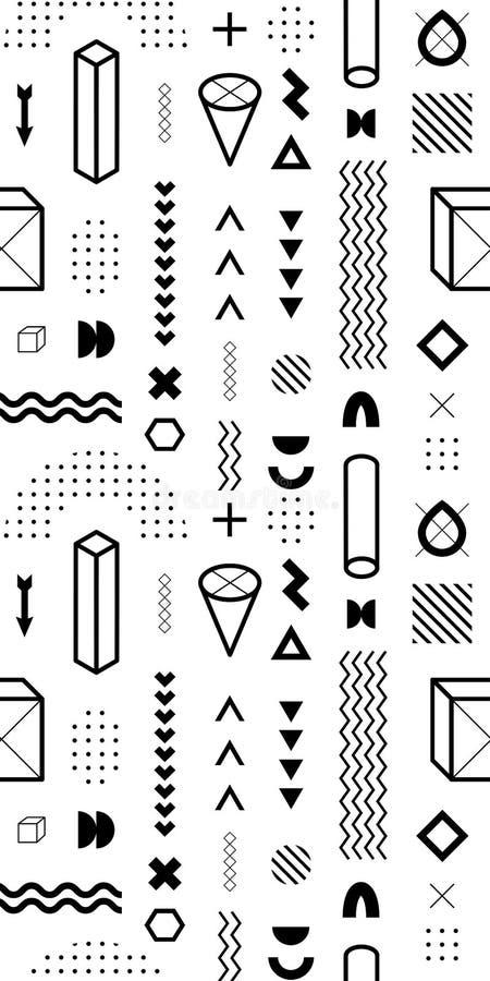 Teste padrão sem emenda com formas geométricas do vetor Elementos gráficos na moda ilustração royalty free