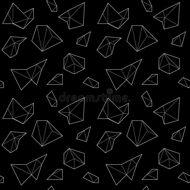 Teste padrão sem emenda com formas poligonais brancas no fundo preto ilustração do vetor