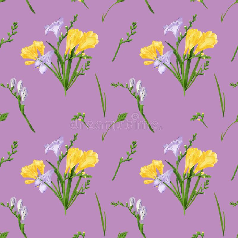 Teste padrão sem emenda com frésias coloridas e gramas Textura da cópia do papel de parede da tela no fundo cor-de-rosa empoeirad ilustração royalty free
