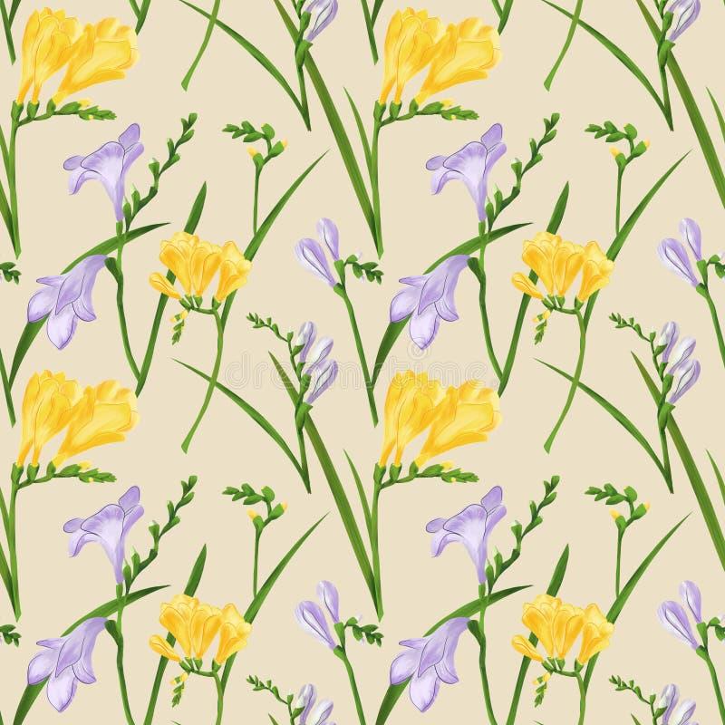 Teste padrão sem emenda com frésias coloridas e gramas Textura do papel de parede da tela no fundo bege Ilustração de Digitas ilustração royalty free