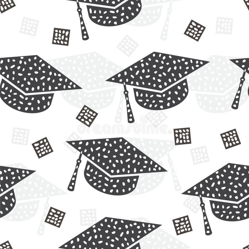 Teste padrão sem emenda com fundo do sumário do tampão da graduação ilustração royalty free