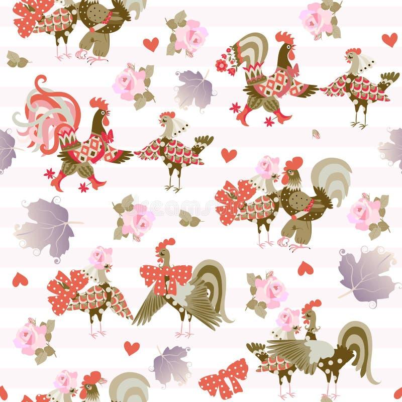 Teste padrão sem emenda com galos e galinhas engraçadas, rosas cor-de-rosa e folhas do viburnum no fundo listrado delicado C?pia  ilustração royalty free