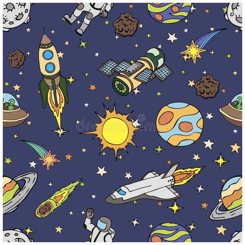 Teste padrão sem emenda com garatujas do espaço, símbolos ilustração stock