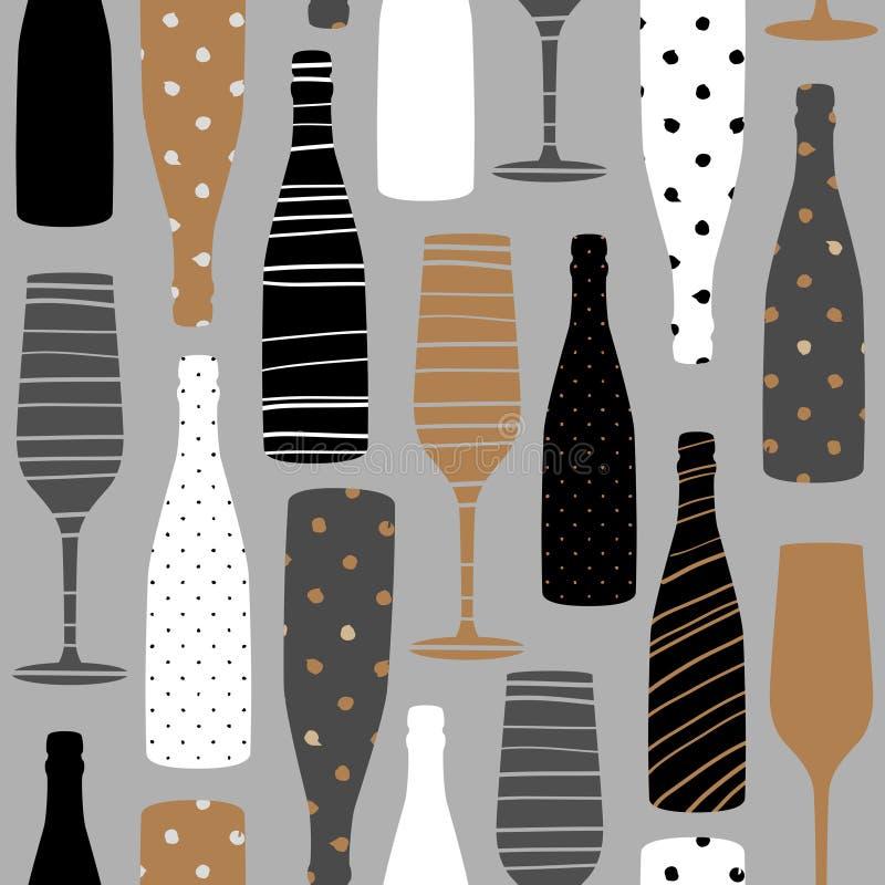 Teste padrão sem emenda com garrafas do champanhe Entregue a tela tirada, papel de embrulho, projeto da arte da parede ilustração royalty free