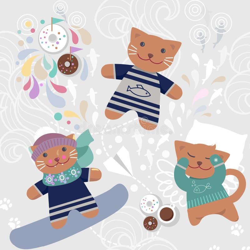 Teste padrão sem emenda com gatos bonitos ilustração do vetor